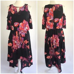 Apt. 9 Floral Print Cold Shoulder Hi Low Dress